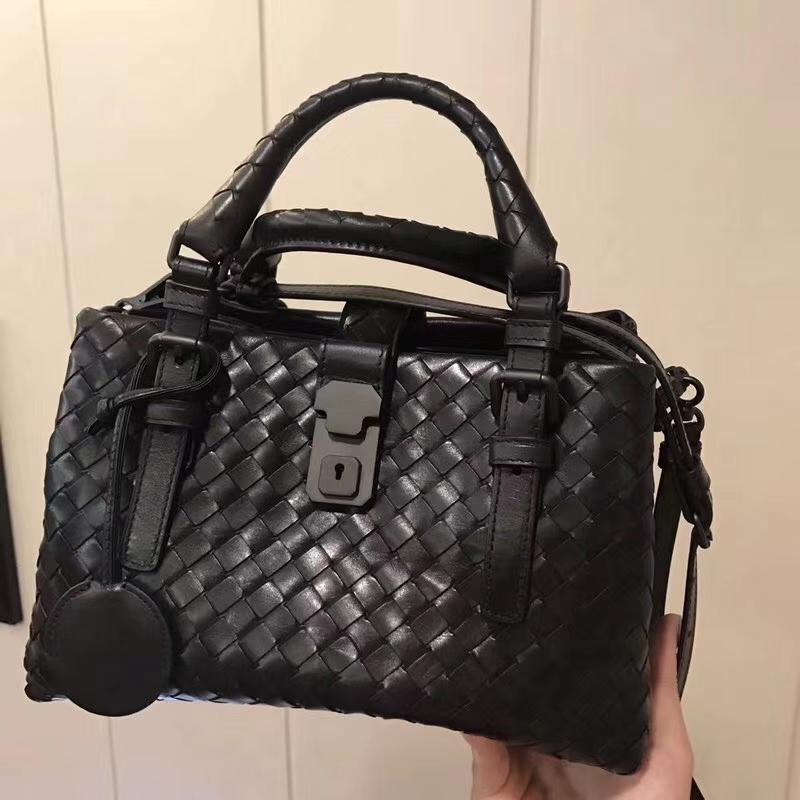 广州白云皮具城 2302#miniRoma手提包 26cm 经典黑色 编织工艺