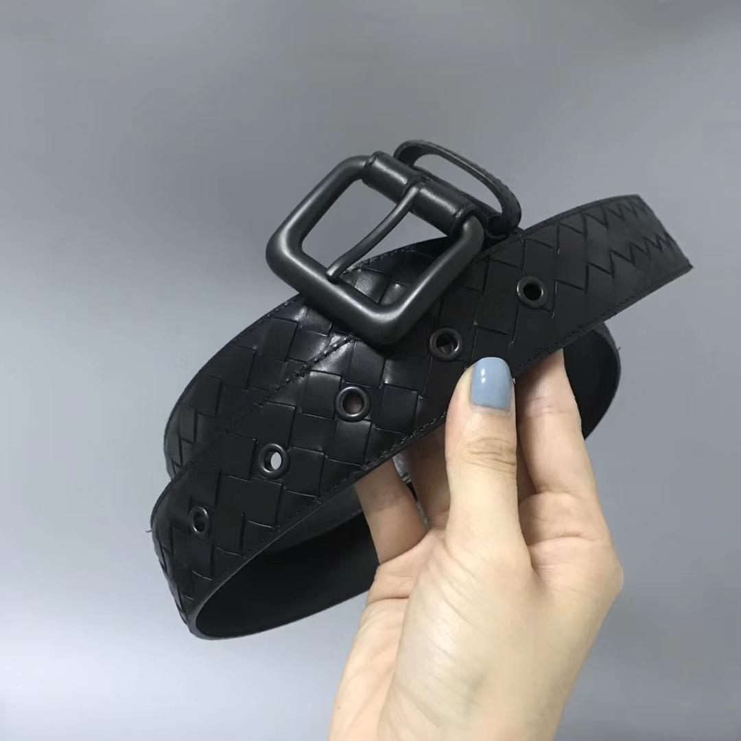 Bottega Veneta 宝缇嘉 Ma305男士腰带 顶级胎牛皮 黑色 宽3.5cm 码全