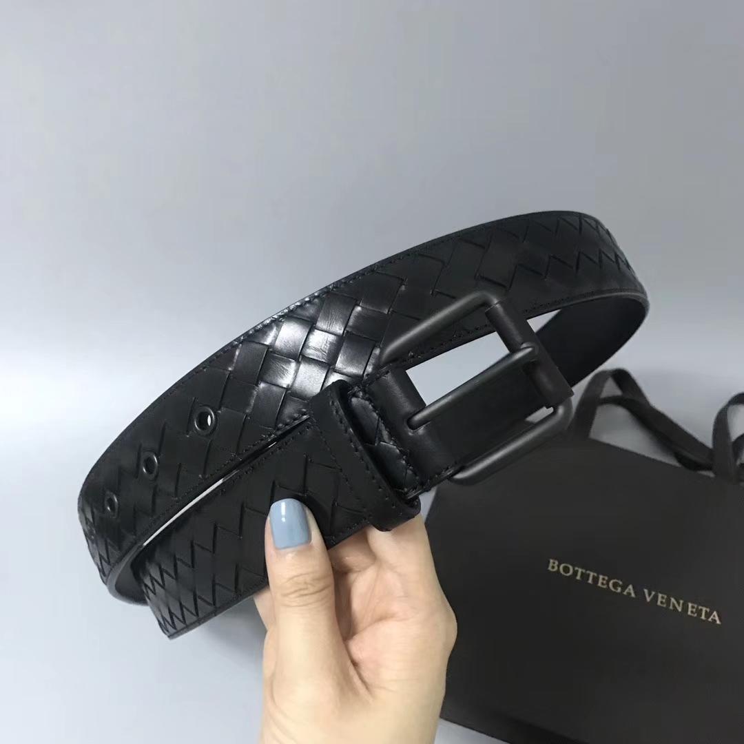 Bottega Veneta 宝缇嘉 Ma307男士腰带 顶级胎牛皮 黑色 宽3.5cm