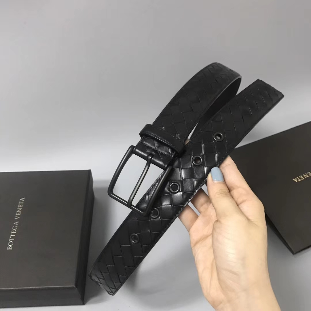 Bottega Veneta 宝缇嘉 Ma201男士腰带 顶级胎牛皮 黑色 宽3.5cm (目前只有85、90欧码)
