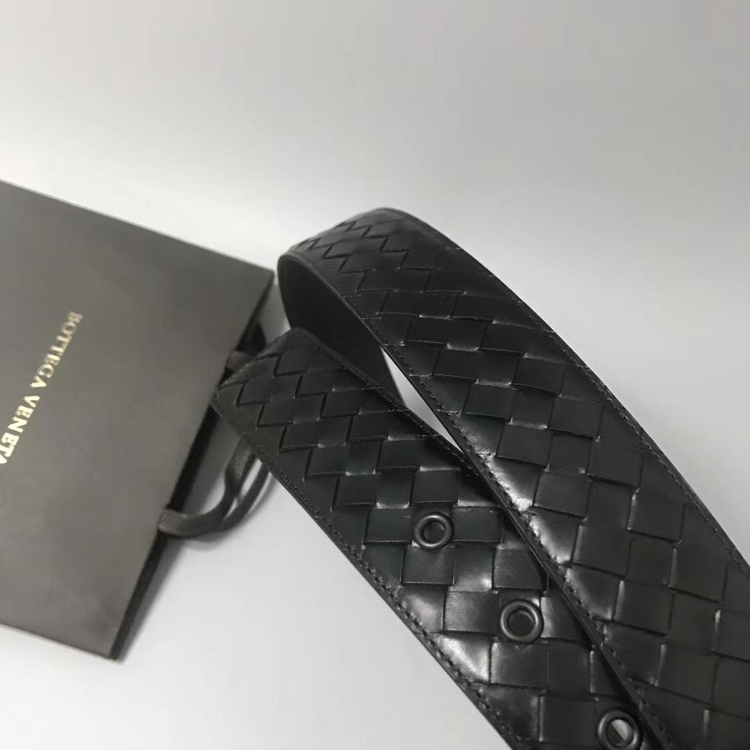 Bottega Veneta 宝缇嘉 Ma301男士腰带 顶级胎牛皮 黑色 宽4cm