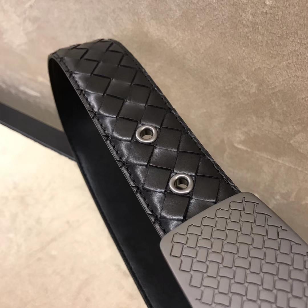 Bottega Veneta 宝缇嘉 Ma304男士腰带 顶级胎牛皮 黑色宽3.5cm 85欧码 95欧码 110欧码