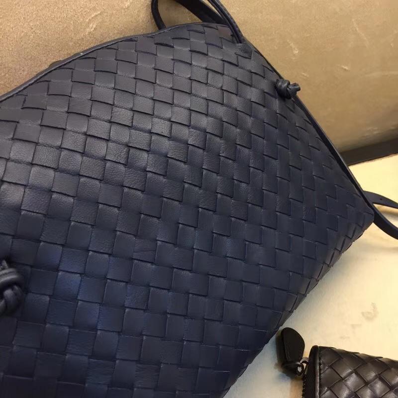 Bottega Veneta 宝缇嘉 广州女包批发 原版羊皮 单拉链 姚笛款 深蓝色8053