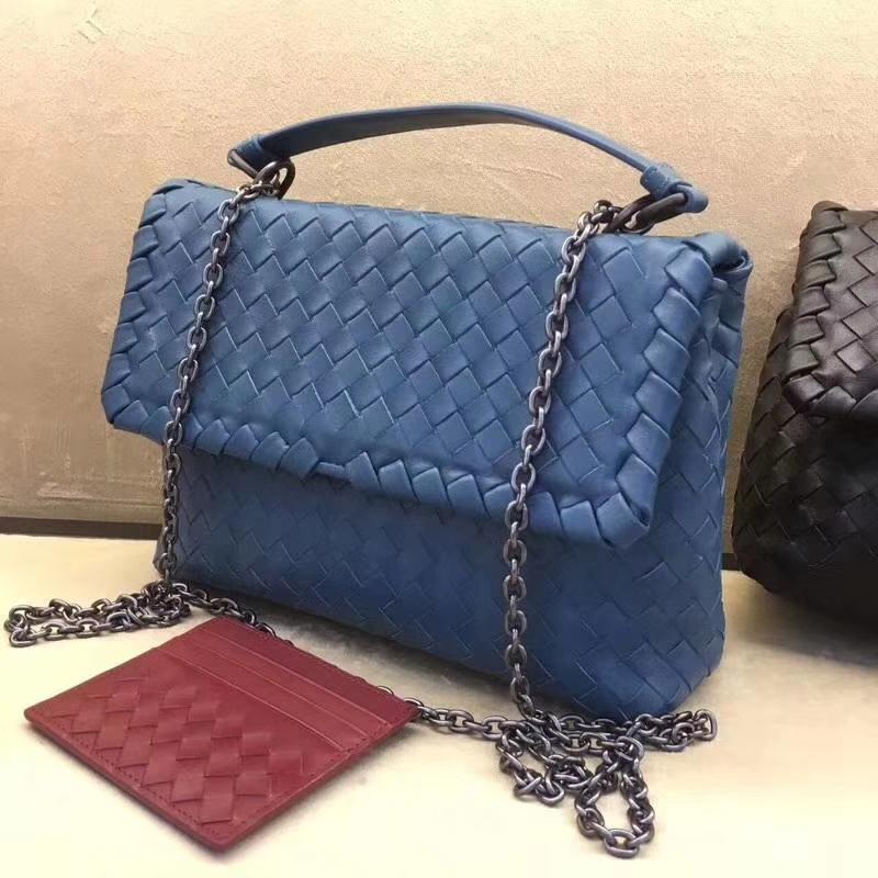 Bottega Veneta 宝缇嘉2305 Olimpia 手袋 纯小羊皮 蓝色 百搭舒适 22.5cm