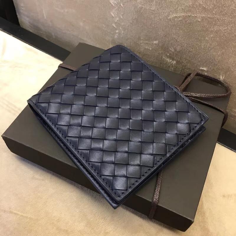 BV男士钱夹 6956 宝缇嘉 胎牛皮编织 深蓝色 短款两折钱包钱夹