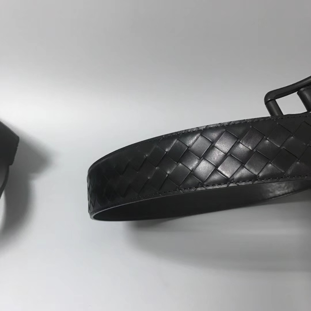 Bottega Veneta 宝缇嘉 Ma202男士腰带 顶级胎牛皮 黑色 宽4cm 85欧码 90欧码 95欧码