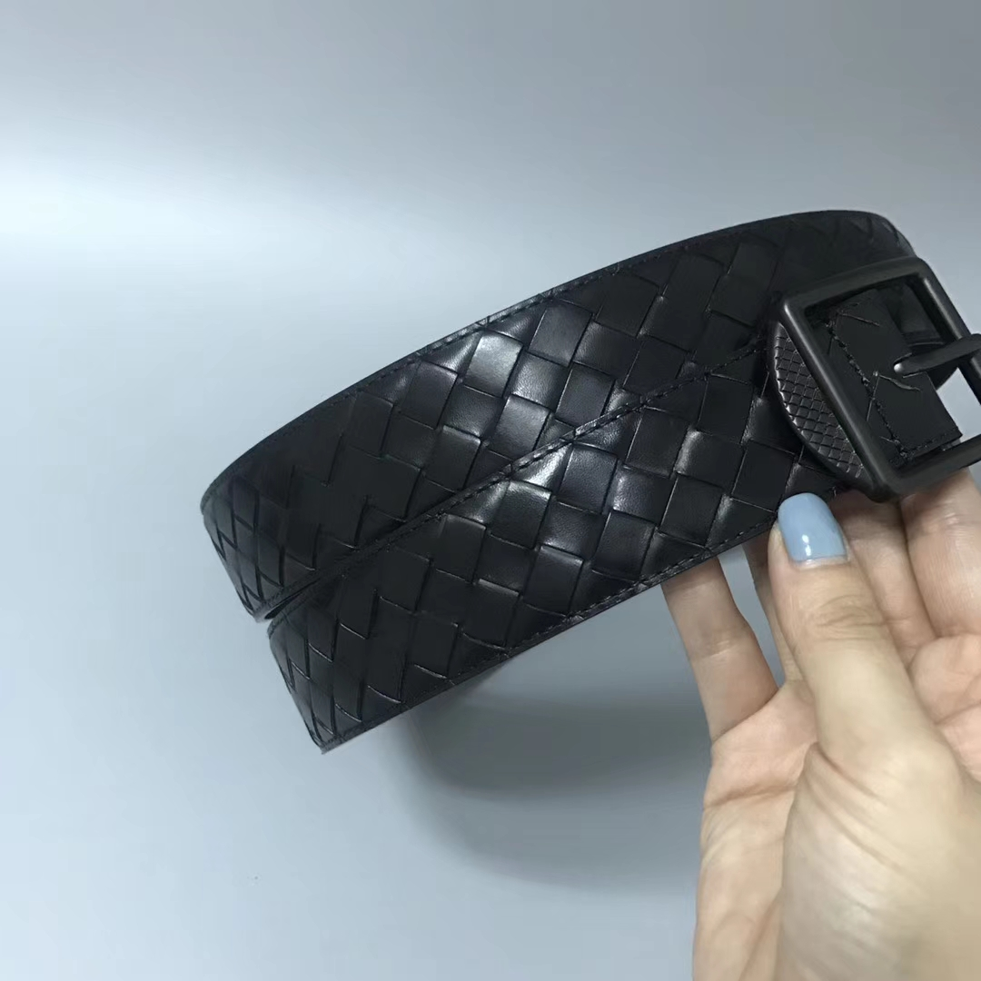 Bottega Veneta 宝缇嘉 Ma203男士腰带 顶级胎牛皮 黑色 宽3.5cm 85欧码 90欧码 100欧码 105欧码