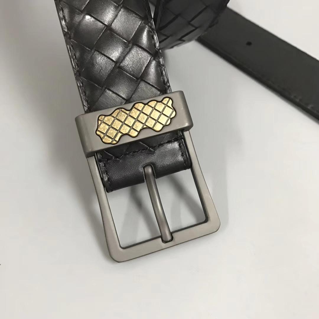 Bottega Veneta 宝缇嘉 Ma204男士腰带 顶级胎牛皮 黑色 宽3.5cm