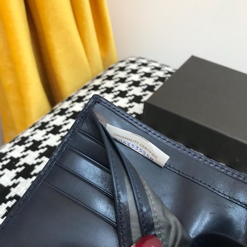 代购版1036经典短夹顶级原版胎牛皮 11.5/9.5/1 黑色灰色 深蓝色