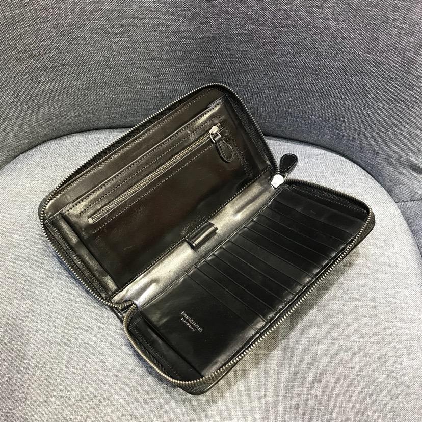 代购版1050新内里21厘米拉链款钱包顶级原版胎牛皮 12个卡位21 /11.5 /2.5 黑色