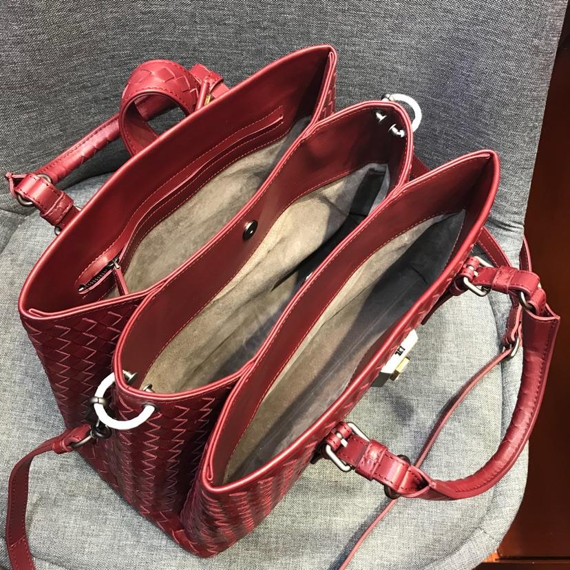 代购版新五金酒红色 小号Roma包 顶级原版胎牛皮 里原版羊皮手工编织 31cm