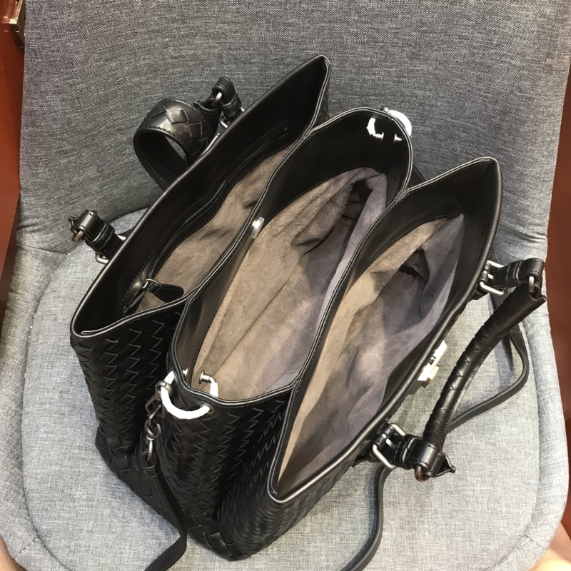 代购版新五金黑色 小号Roma包 顶级原版胎牛皮 里原版羊皮手工编织 31cm