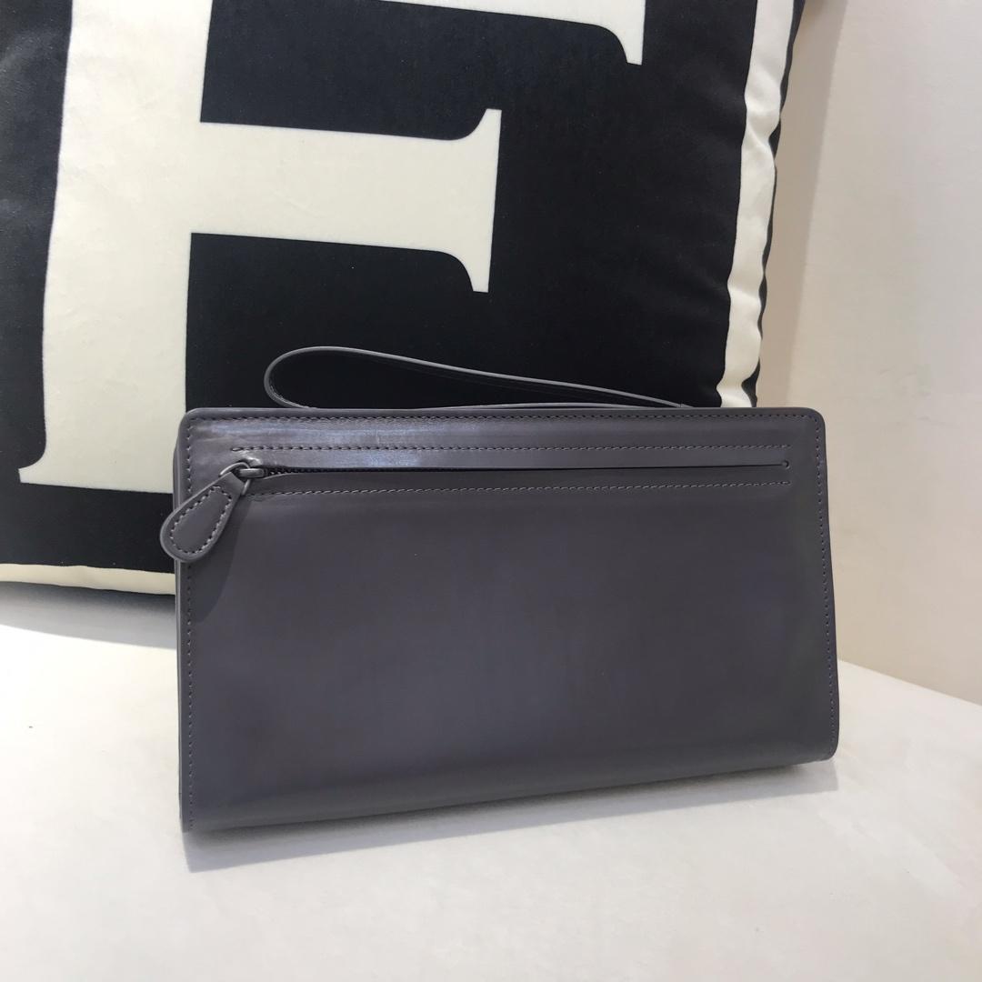 BV代购版8818顶级原版胎牛皮男士手包 可以放上万现金 灰色