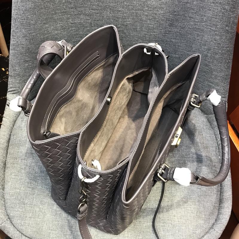 代购版新五金灰色 小号Roma包 顶级原版胎牛皮 里原版羊皮手工编织 31cm
