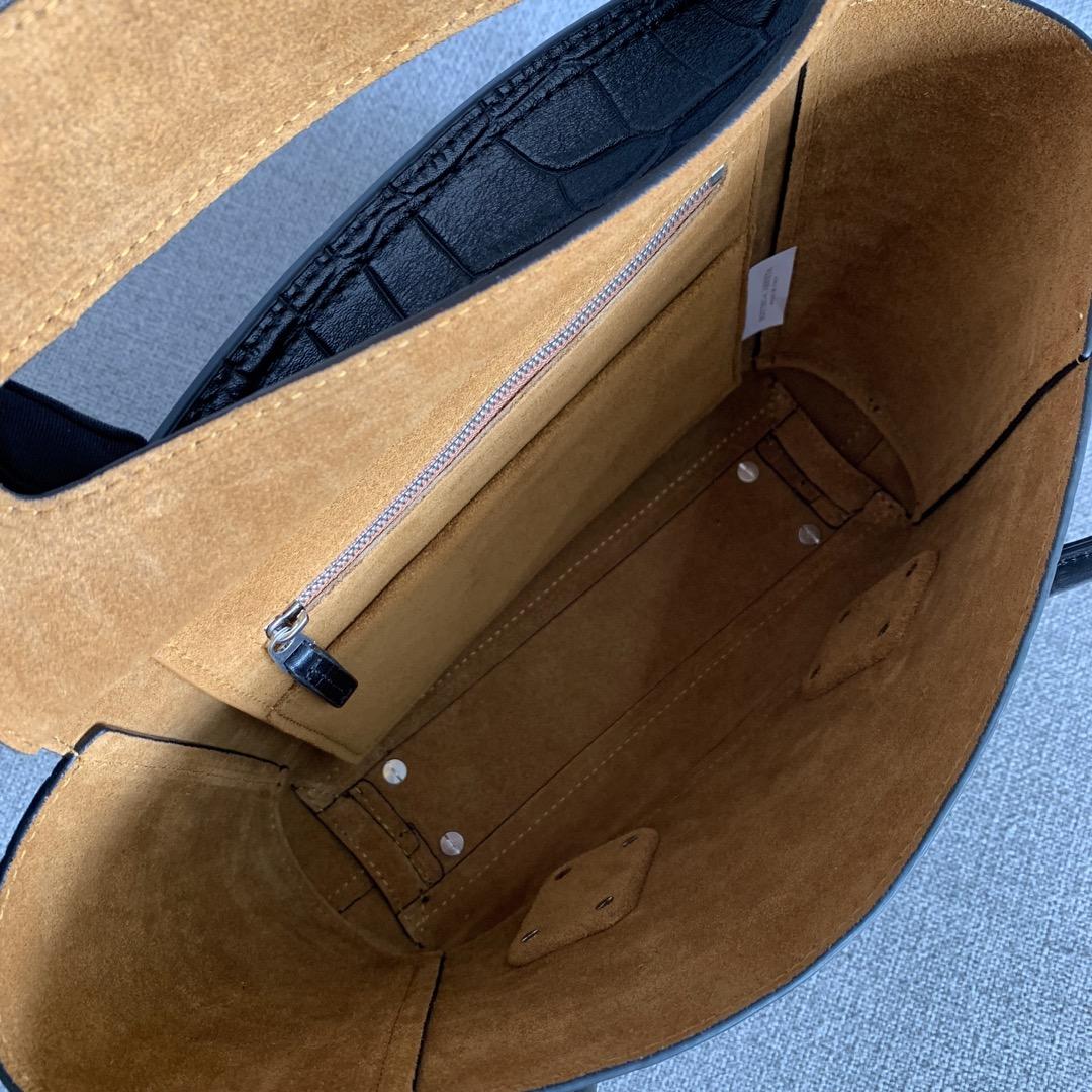 Bv 小号Arco 580725鳄鱼纹 黑色 袋口33 底22宽6高22 (不含手柄)