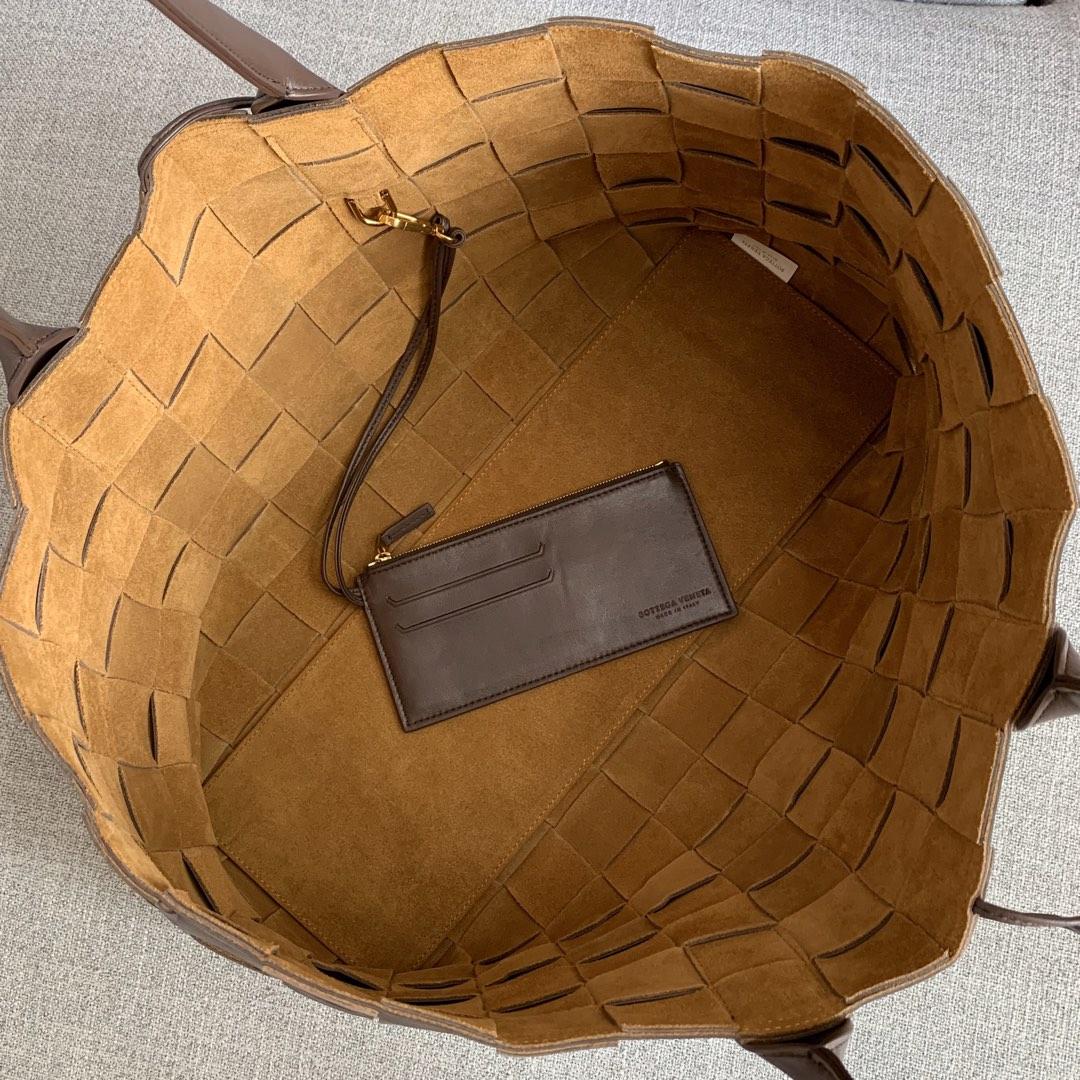 【P2700】BvBag羊皮编织购物袋576828 巧克力棕 45-50-18