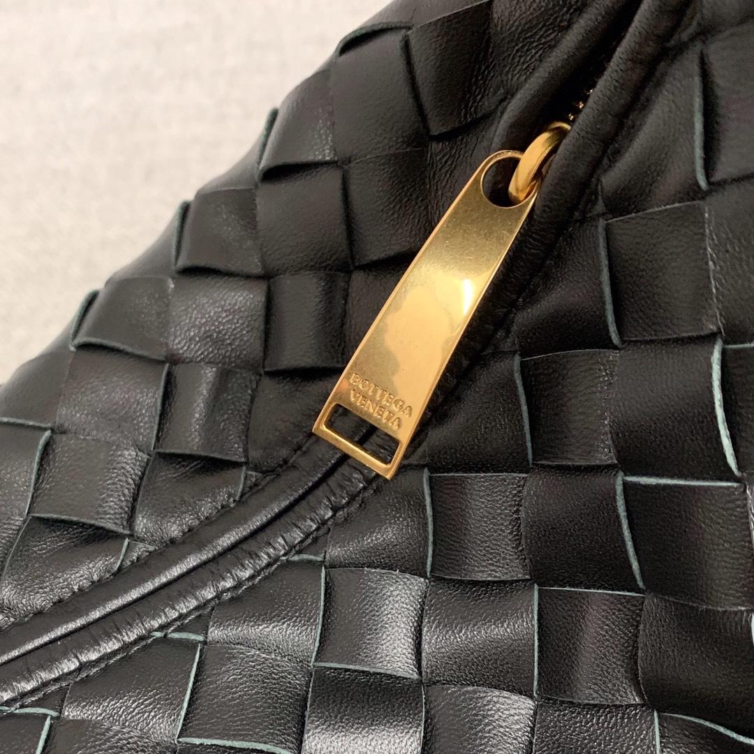 【P1320】BV早春新品 609409 牛角包 编织 黑色 28.5×23×10