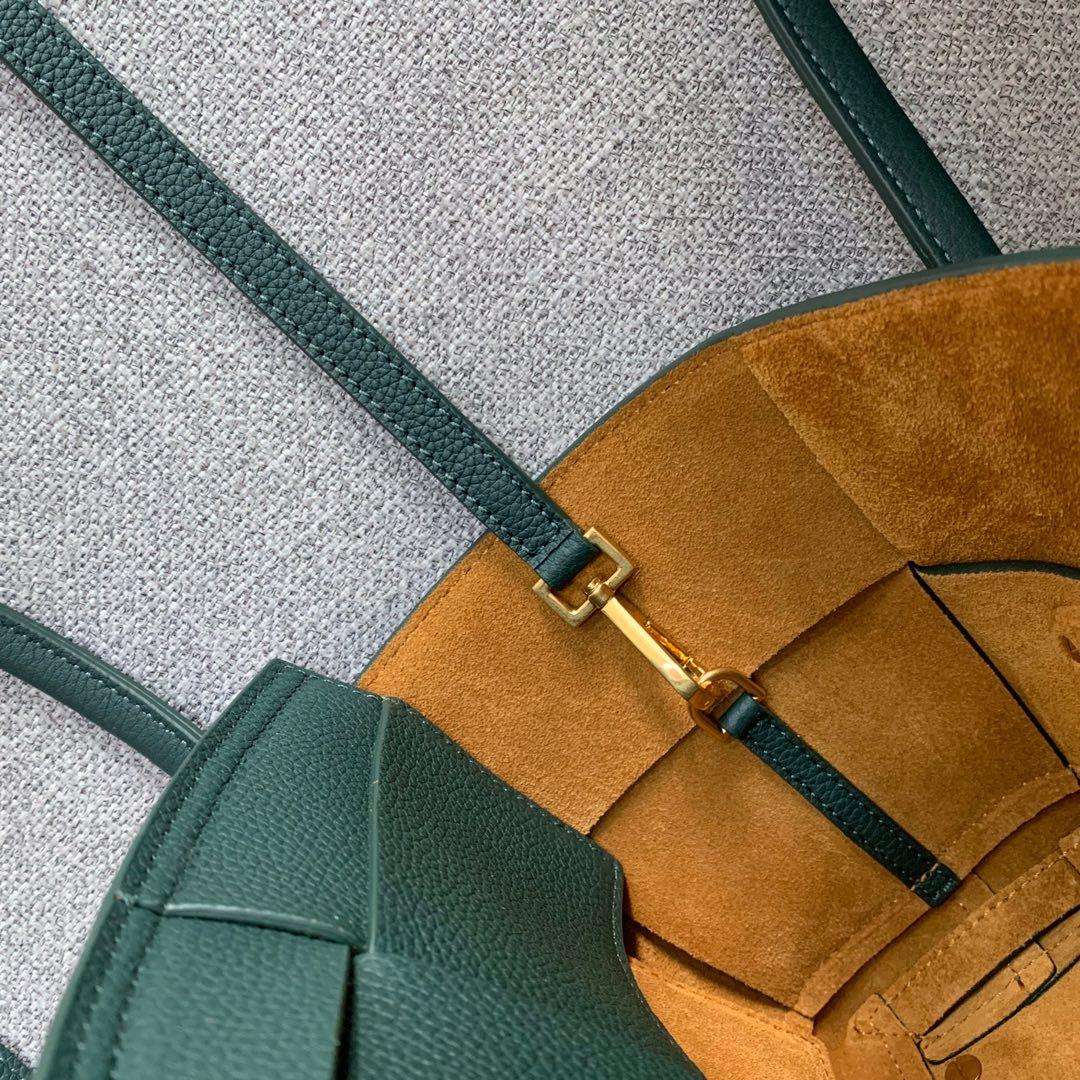 【P1430】Bottega Veneta Mini Arco购物袋 600606牛皮 荔枝纹 墨绿色 袋口28 底17.5宽8高17(不含手柄)