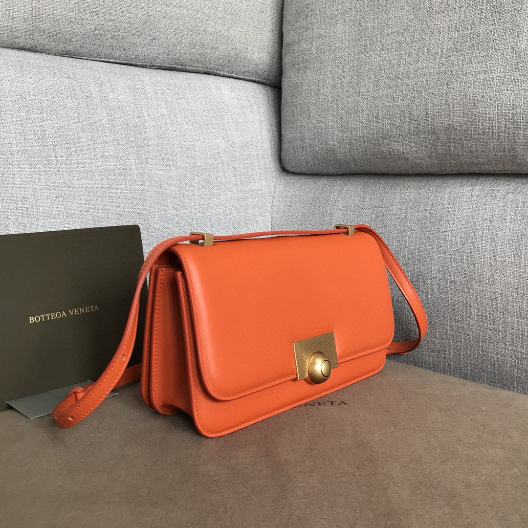 【P1580】BV新款高级rondebag 平纹/牛皮内磨砂皮 橙色 28-15-7